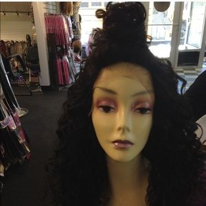 Super long curly Swisslace Free Part New Black Wig